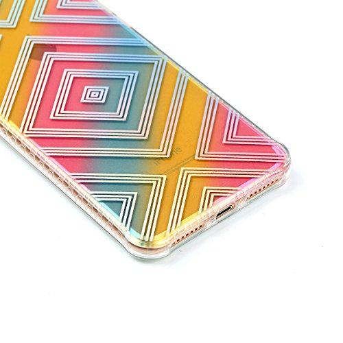 iPhone 8 Plus Coque, Voguecase TPU avec Absorption de Choc, Etui Silicone Souple Transparent, Légère / Ajustement Parfait Coque Shell Housse Cover pour Apple iPhone 8 Plus 5.5 (Placage colorés-Fleurs  Placage colorés-Rhombus
