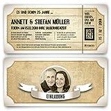 60 x Silberhochzeit Hochzeitseinladungen silberne Hochzeit Einladungskarten individuell - Vintage Brautpaar Weiß
