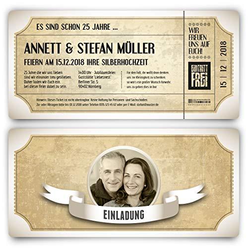 20 x Silberhochzeit Hochzeitseinladungen silberne Hochzeit Einladungskarten individuell - Vintage Brautpaar Weiß