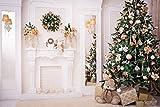 Kate Washable 7x5ft Weihnachten Fotografie Hintergrund Weihnachten mit Kamin Wohnzimmer Kamin Xmas Weihnachten Blumen Baum Bunny Geschenk Fotografie Hintergrund Weihnachts Hintergründe lily2541