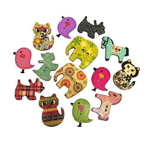 Hangood 50 Piezas Botones De Madera Para Coserlas Manualidades Elefante animal del gato del caballo