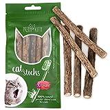 PRETTY KITTY Katzenminze Sticks aus echtem Matatabi Holz als Katzenspielzeug zur Zahnpflege und gegen Mundgeruch (5 Kausticks)