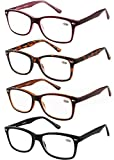 Amcedar 4-Pack Reading Glasses Women Metal Spring Hinges Square Frame Flexible Plastic Material