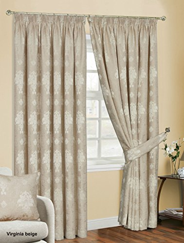 CURTAINS PAIR READY MADE FULLY LINED JACQUARD PENCIL PLEAT WITH MATCHING TIE BACKS (90″x108″, Virginia Stone)