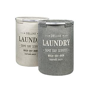 BAMODI Wäschekorb Set – 2 Stück je 60 l – Faltbarer Wäschesammler spart Zeit beim Sortieren – Laundry Basket aus Stoff (55 x 40 cm)