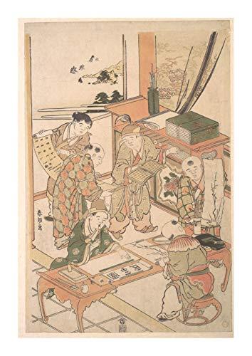 Gloss Semi Gloss Paint (Spiffing Prints Katsushika Hokusai - Learning to Write & Paint - Medium - Semi Gloss - Framed)