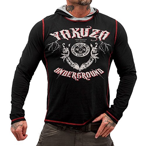 Yakuza Original Herren Underground Hooded Shirt Kapuzenshirt - Schwarz Schwarz