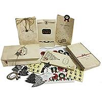 Bolsa de papel robusta - 24 bolsas de papel Navidad + 44 Pegatinas de Navidad lindas + cuerda de yute de 3M + 14 colgantes de Navidad + 6 colgantes de metal vintage - Bolsa de regalo para cumpleaños h