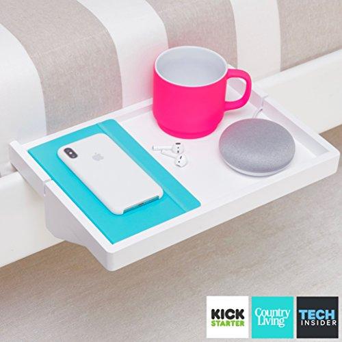 BedShelfie - Moderner Bambus Nachttischregal Nachttisch / Platzsparender, verstellbarer schwimmender Nachttisch für kleine Schlafzimmer, Loft Etagenbetten & moderne Schlafsäle (in White) (Besten Etagenbett)