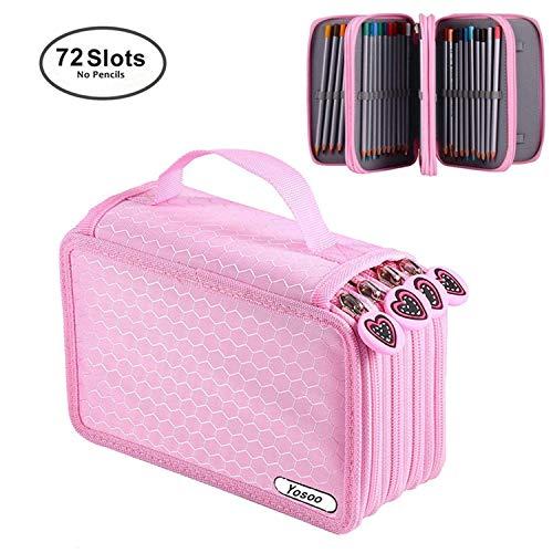Astuccio portamatite per 72 matite portapenne astuccio 4 strati portamatite caso, senza matita - rosa