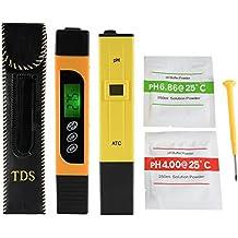 XCSOURCE 3in1 TDS + EC + Temp Meter y Medidor de Ph con ATC, Precisión digital Monitor de calidad del agua Pen Style Portable Tester BI717