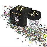 XS Glamour –ICONIC ✮ Grobes holographisches 3d Kosmetik und Makeup Glitzer ✮ Verschiedene Formen und Farben ✮ 8g Glitzerpulver ✮ Glitzer-Puder für Gesicht, Körper, Haare, Finger-Nägel