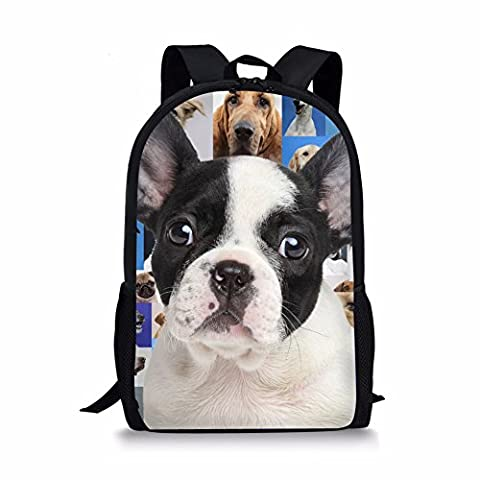Showudesigns Cute French Bulldog Backpack with Mesh Side Pocket for Umbrella and Bottle