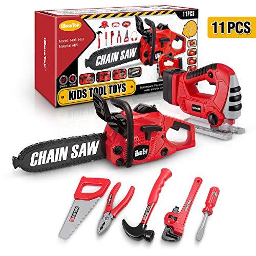 iBaseToy 11 Teile Werkzeugset für Kinder, Elektrowerkzeug inkl. Spielzeug-Kettensäge, Stichsäge und Werkzeuggürtel für Rollenspiele mit Kinderwerkzeug, Bauspielzeug für Kleinkinder im Alter von 3- 5