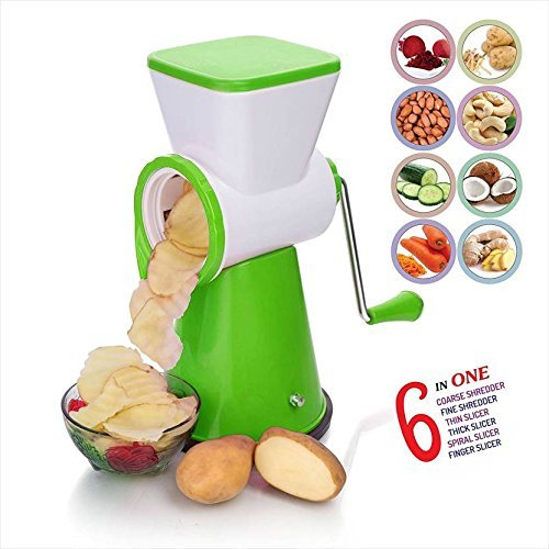 SELL ON 6 In 1 Rotary Slicer Grater And Shredder For Vegetables, Fruits, Dry-Fruits Drum Grater For Kitchen With Stainless Steel Blade (Green)