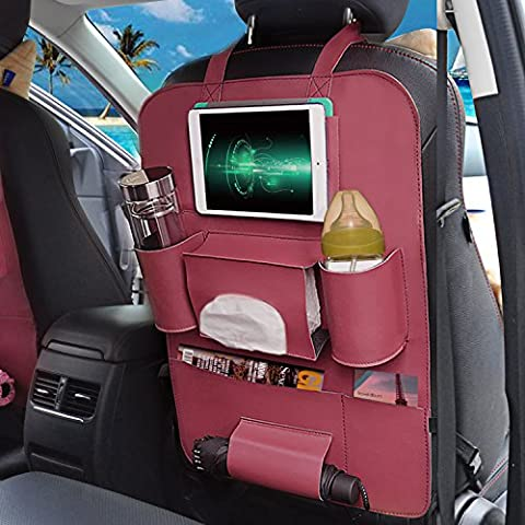Eunicom 5 Color Option PU Leather Car Seat Back Organizer AutoMuko iPad and Tablet Holder Fit Most Vehicles,Backrest Pocket for Children, Kick Mat and Car Organizer (Wine Red)