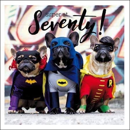 Fotokarte zum 70. Geburtstag - Männlich/Weiblich - The New Sixty! WDM-442889 Superheldenhunde