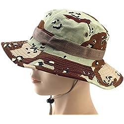 Yesmile Sombrero Gorra Ajustable Camuflaje Boonie Sombreros Gorra Nepalesa Sombrero de Pescador Militar Para Hombre (talla única, E2)