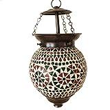 Lampe Hängeleuchte Leuchte Mosaik Rund Orientalisch Dekoleuchte Grün Orange 14 cm Ø Nr. 5