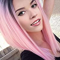 Fashion Pink Silky Long Straight Hair Gradient Wig 2 Tone Black and Pink Wig Dark Roots Synthetic Hair Wig Heat Resistant Fiber Cosplay Theme Party Dress Up Wigs Refreshing Breathable 20 inch Pink