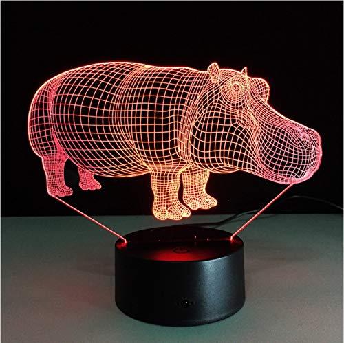 Hippo 7 farbe touch led 3d led lampe licht novelty halloween geschenk atmosphäre geschenk schreibtischlampe led nachtlicht party geburtstagsgeschenk