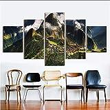 hllhpc Decoración del Hogar De Pared Cuadros para La Sala De Arte De La Lona Pintura De Paisaje 5 Panel Machu Picchu Perú Montañas Nubes Colinas