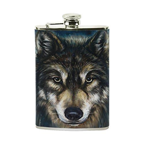 tizorax Wolf Edelstahl Flachmann, Pocket Schnabelkanne, Camping Wein Topf, Geschenk für Männer oder Frauen, 8oz (8 Unzen Flasche Für Männer)