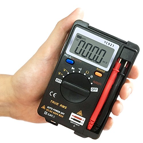AKUNSZ MINI Digital Multimeter Handheld Pocket Multi Tester mit Manuell / Auto Range Ture RMS Multi Messgeräte Spannungsprüfer Voltmeter Ohmmeter Messung von AC/DC Spannung Prüfung von Durchgang Dioden Widerstand Kapazitanz Frequenz mit Hintergrundbeleuchtung LCD, Schwarz
