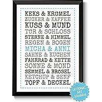 DU & ICH - personalisiertes Bild für Paare Ehepaare Geschwister Eltern Freunde - Rahmen optional - Geschenk Valentinstag Geburtstag Jahrestag Hochzeitstag Hochzeit