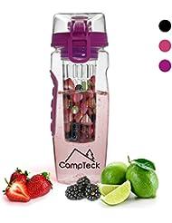 CampTeck 1 Litre 100ml Bouteille à Infusion (Sans BPA Plastique Tritan) Gourde Infuser Fruit avec Couvercle Antifuite + Boucle lock & Poignée de transport - Pourpre