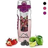 CampTeck 1 Litro 1000 ml Frutas Botella Agua Infusor (Plástico Tritan Sin BPA) Esencia Infusión con Tapa a Prueba de Fugas + Cierre y Asa - Viola