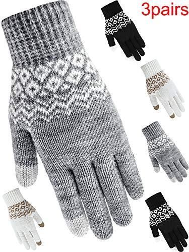 (3 Paar Texting Handschuhe Touchscreen Handschuhe Stretchgestrickte Mechaniker Handschuhe Winterwarme Handschuhe (Style 4))