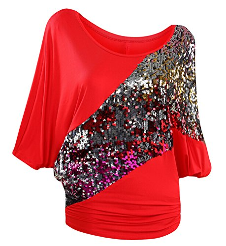 SMITHROAD Damen T-Shirt mit Pailletten Applikationen Fledermaus Shrit Top Kurzarm Dehnbar Rundhalsausschnitt Loose Fit Rot