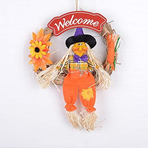 (Halloween hängende Anhänger Dekoration Requisiten Szene Anordnung Stroh Kranz Kürbis Hexe Charme, orange)