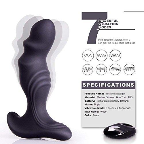 Preisvergleich Produktbild Korgift Vibrierender Prostata-Massagegerät,  Anal-Plug-Vibrator,  Anal-Sex-Spielzeug mit 7 leistungsstarken Vibrations-Plugs,  G-Punkt mit Fernbedienung,  wiederaufladbar für Frauen und Männer,  Paare