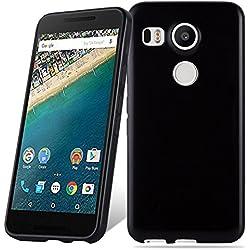 Cadorabo Coque pour LG Nexus 5X en Noir - Housse Protection Souple en Silicone TPU avec Anti-Choc et Anti-Rayures - Ultra Slim Fin Gel Case Cover Bumper