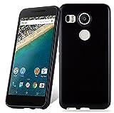 Cadorabo Custodia per LG Nexus 5X in Nero - Morbida Cover Protettiva Sottile di Silicone TPU con Bordo Protezione - Ultra Slim Case Antiurto Gel Back Bumper Guscio