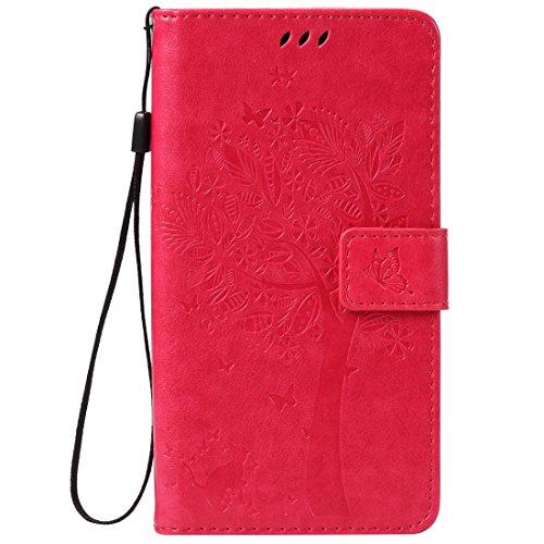 Sony Xperia Z5 Premium / Z5 Plus Hülle, Chreey Prägung [Katze Baum] Muster PU Leder Hülle Flip Case Wallet Cover mit Kartenschlitz Handyhülle Etui Schutztasche [Rose Rot]