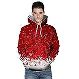 KPILP Sweatshirt Herren Kapuzenpullover Weihnachten Frauen Paar Casual 2018 3D Druck Langarm Shirt Tuniken Hoodies Herbst Winter …(C-rot,EU-56/CN-XL
