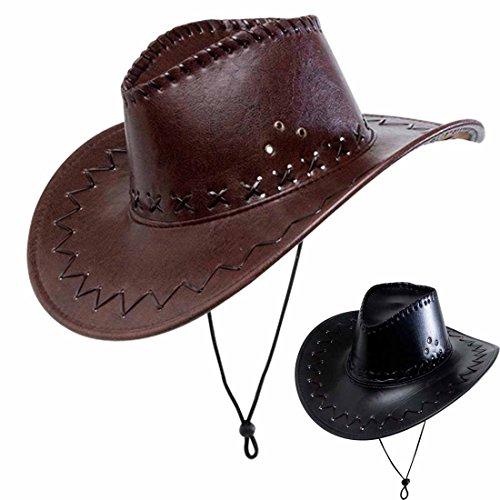 Amakando Brauner Cowboy Hut Rodeo Westernhut braun Ranger Kopfbedeckung Sheriff Western Cowboyhut Fasching Wilder Westen Faschingshut Indianer Mottoparty Accessoire Karneval Kostüm - Western Kostüme Wilder