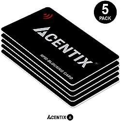 ACENTIX 5 x RFID/NFC Blocage de cartes,Protection de carte de crédit / débit pour votre portefeuille ou votre sac à main   Aucune pile requise,Pas de manches délirantes - Noir