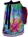 Schürzenliesl, Designer Dirndl Schürze Motiv Batik Hirsch, Paillettenborte mit farblich passendem Fuchsschweif(70cm)