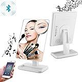 Schminkspiegel Kosmetikspiegel mit Licht beleuchtung mit Touchscreen und 10-facher Vergrößerung, kabelloses Bluetooth + Freisprecheinrichtung und USB-Ladegerät, Bluetooth LED Spiegel