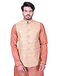 Manyavar Mens Waist Coat (WC00128-304_Beige_X-Large)