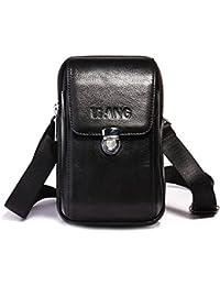 AOLVO Bolso pequeño para cinturón de Piel para Hombre, diseño de Bandolera de Viaje,