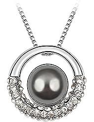 Le Premium - Collar con dije de luna en galaxia hecho con elementos swarovski® perla gris oscuro