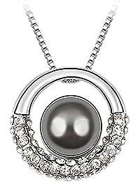 Le Premium® Lune dans galaxie coquille perle Collier avec pendentif avec 12mm Gris foncé perle