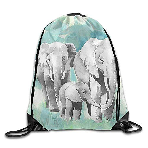 LILKCO Rucksack mit Kordelzug Elephant Mom Dad and Baby Drawstring Backpack Bag Sackpack Cinch Tote Sports String Backpack Gym Bags for Gym or Traveling (Kenneth Taschen Cole Baby)