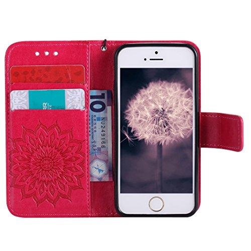 iPhone SE Flip Cover, iPhone 5 Handyhülle, iPhone 5S Case,Moon mood® Flip Case Brieftasche für Apple iPhone 5/5S/SE (4.0 Zoll) ,PU Leder Hülle Wallet Case Folio Schutzhülle Scratch Design Bumper Handy X Rot