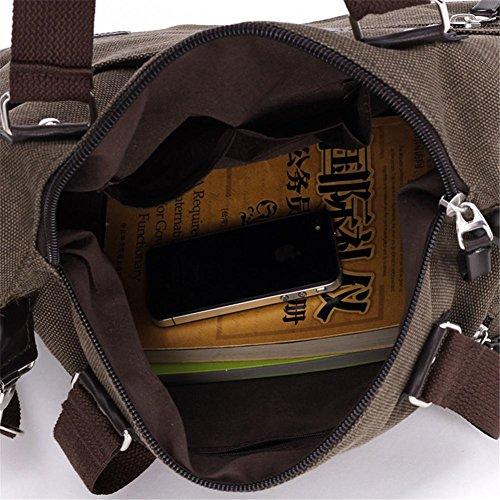 OOLIFENG Segeltuchhandtaschen Schulter Messenger Segeltuch Crossbody Tagesbeutel-Laptop-Beutel Brown